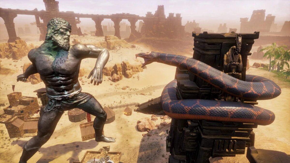Conan Exiles Religion Guide riesige Avatare kämpfen gegeneinander