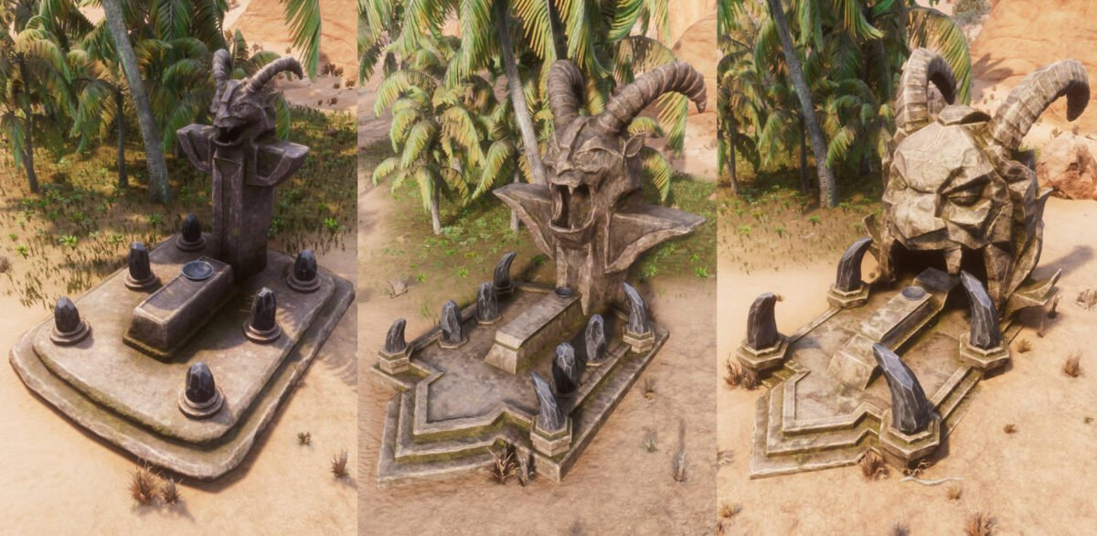 Conan Exiles Jhebbal Sag-Altar in allen drei Stufen