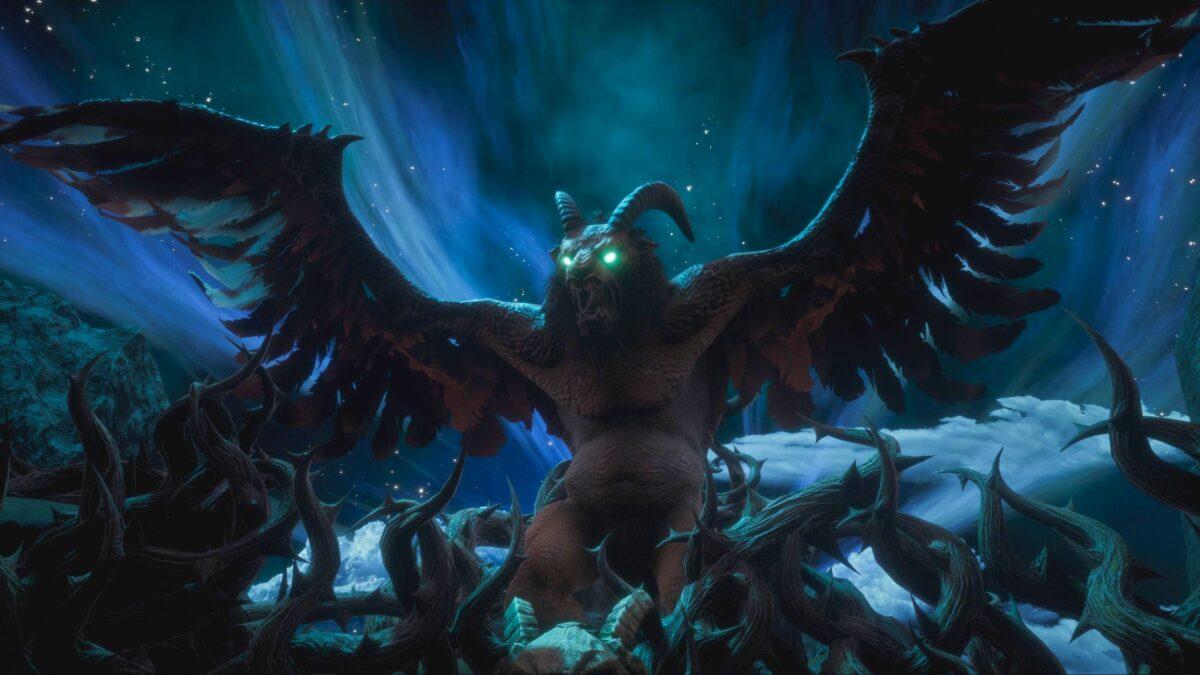 Conan Exiles riesiger gehörnter Vogel mit ausgebreiteten Schwingen über Dornengeflecht