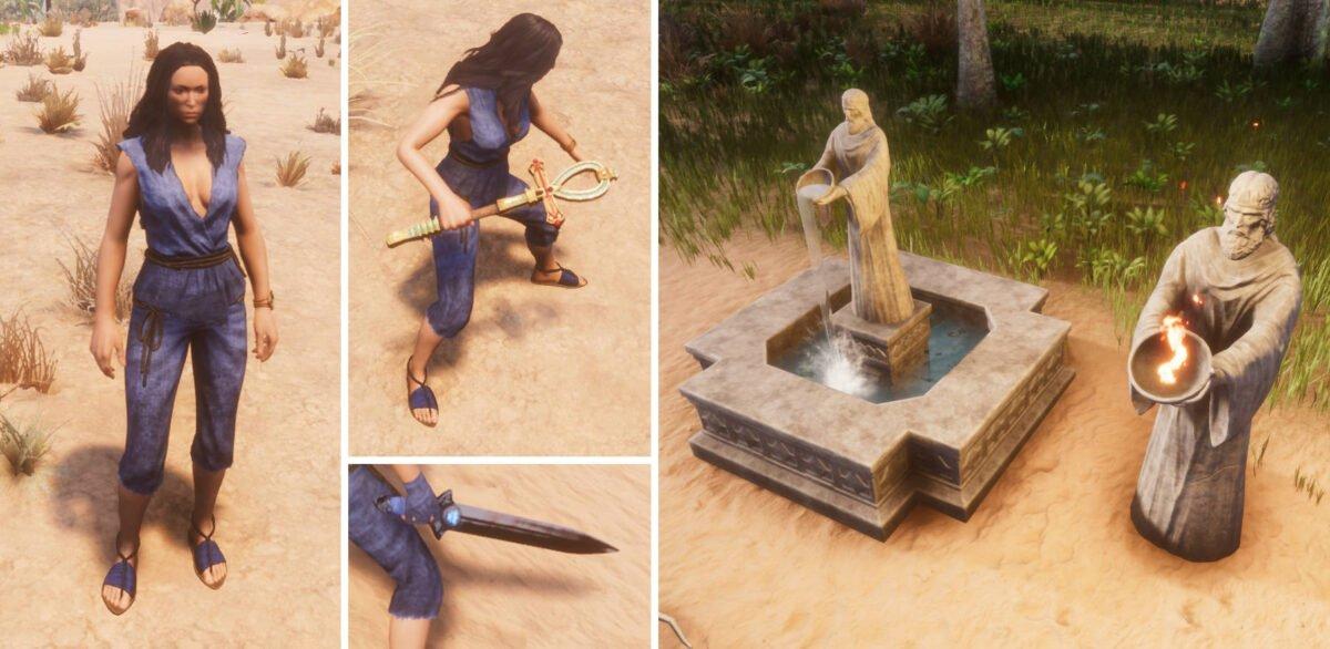 Conan Exiles Frau in blauer einfacher Kleidung, zwei Statuen, ein Schwert und ein Ankh als Waffe