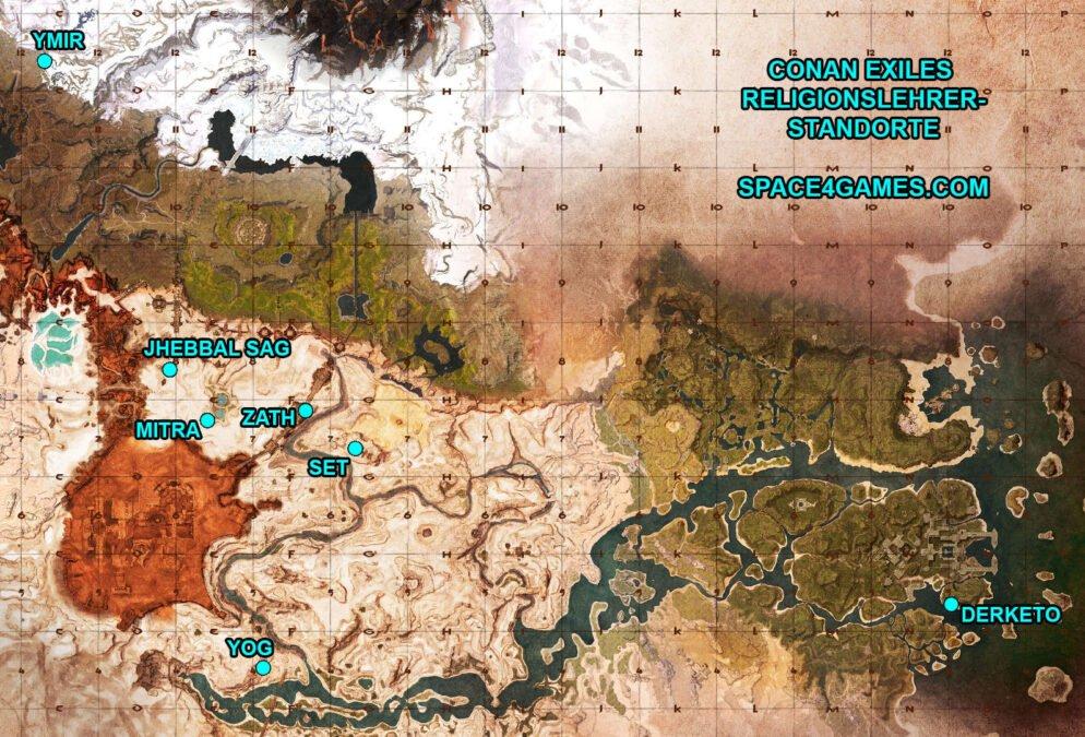 Conan Exiles Religion Standorte aller Religionslehrer auf der Karte