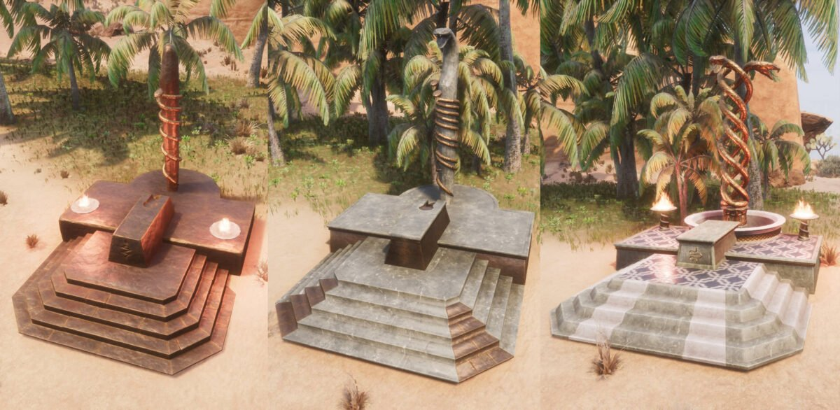 Conan Exiles Set-Altar in allen drei Stufen