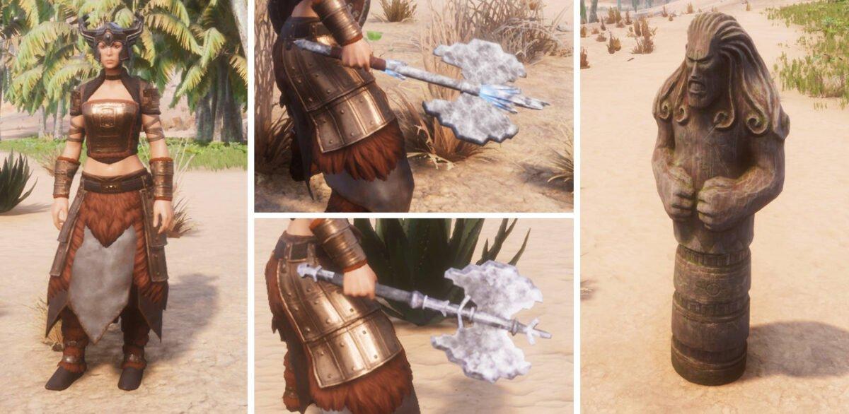 Conan Exiles Frau in nordischer Rüstung, zwei Doppelblatt-Äxte und nordische Holzstatue mit grimmigem Gesicht