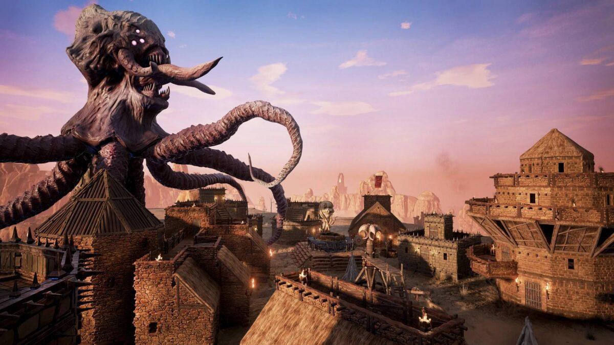Conan Exiles Riesiges chtulhoides Wesen greift eine Siedlung an