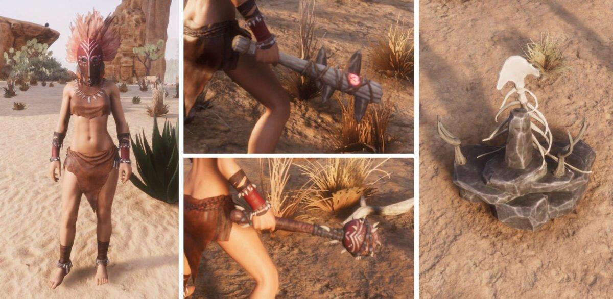 Conan Exiles Frau mit kurzer Lederkleidung und Schamanenmaske, zwei Keulen und ein Steinhaufen mit Skeletteilen
