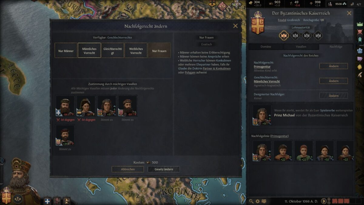 Crusader Kings 3 Succession Law window with alternative succession laws