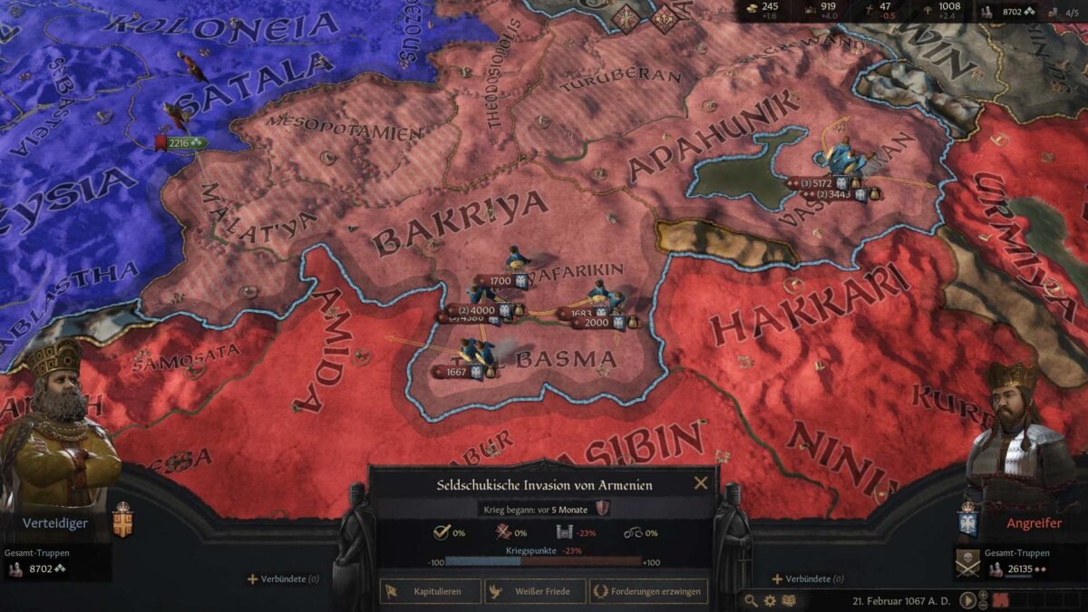 Crusader Kings 3 Battle screen with marching Seljuk armies