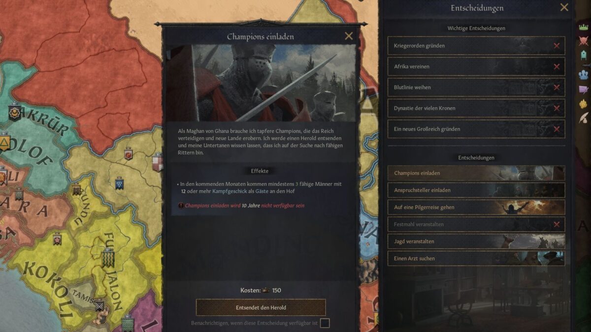 Crusader Kings 3 Invite Knights Decision window with cost overview