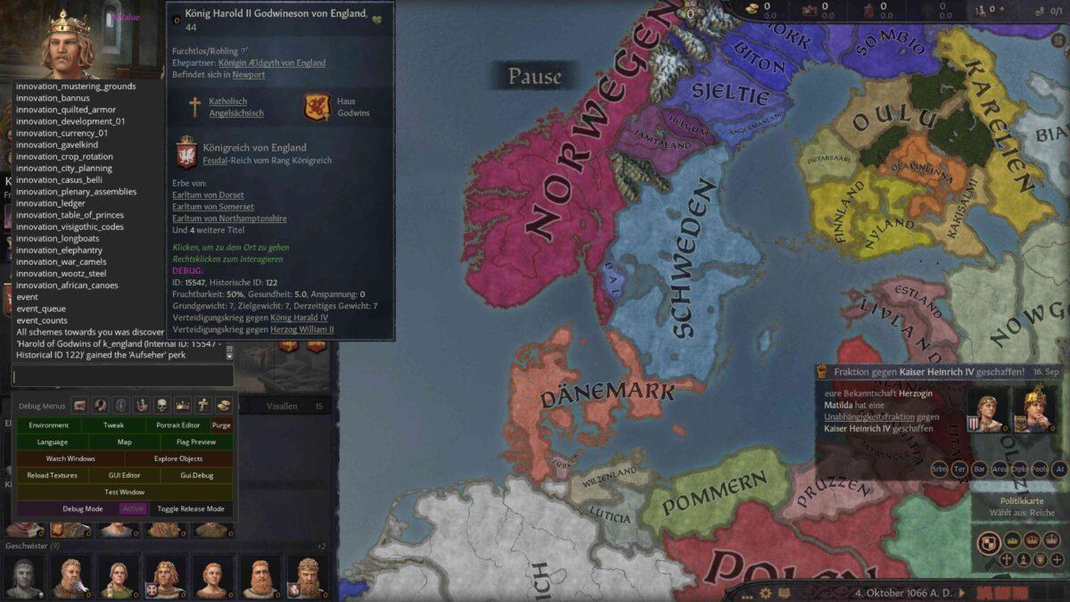 Crusader Kings 3 Übersichtskarte mit England und aktivierter Cheatkonsole, die Innovationen-Liste zeigt