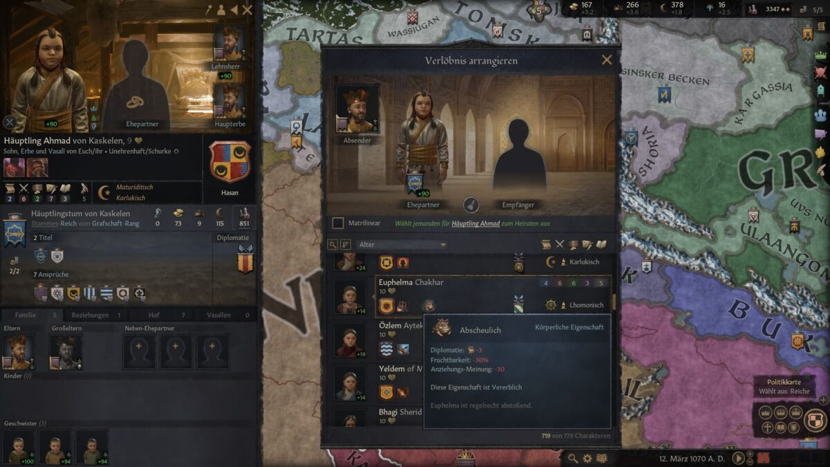 Crusader Kings 3 Liste möglicher Ehepartner