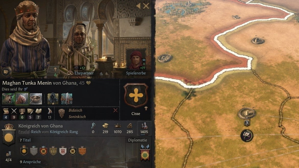 Crusader Kings 3 Overview of the skill values of a ruler