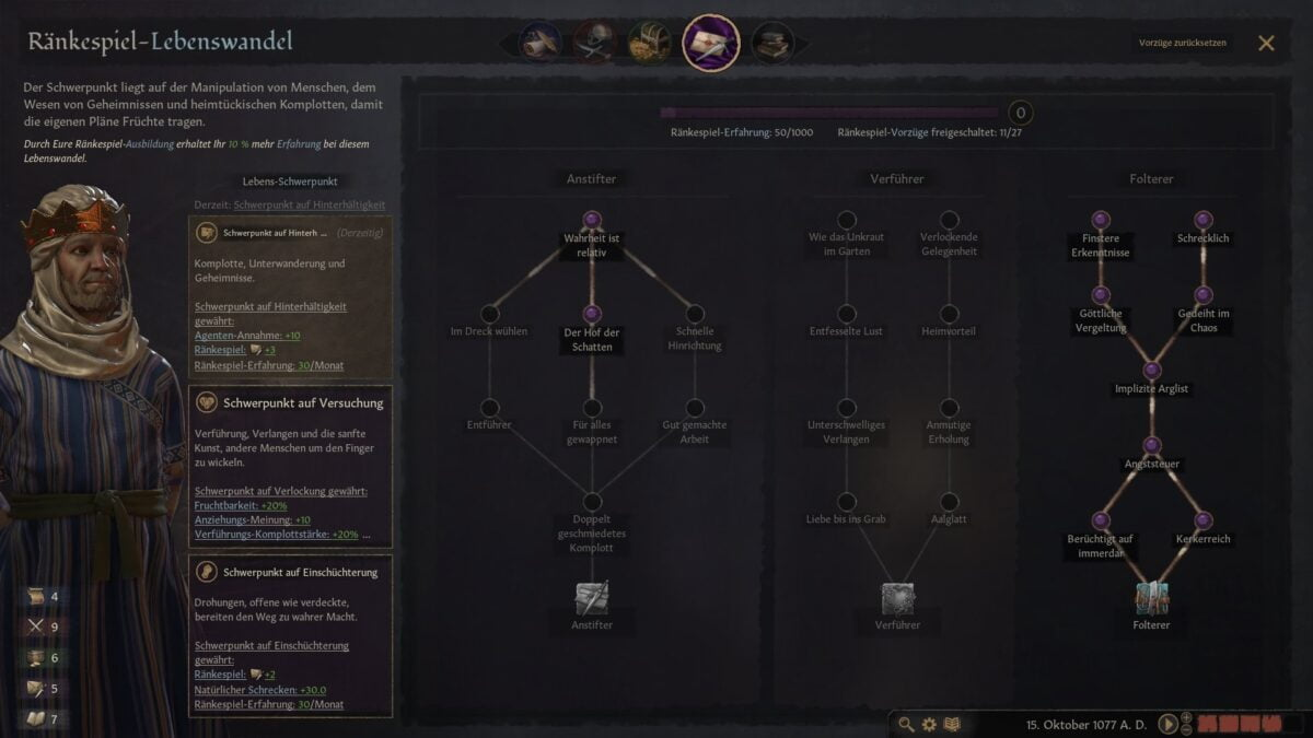 Crusader Kings 3 Skilled Torturer Life-Change Talent Tree