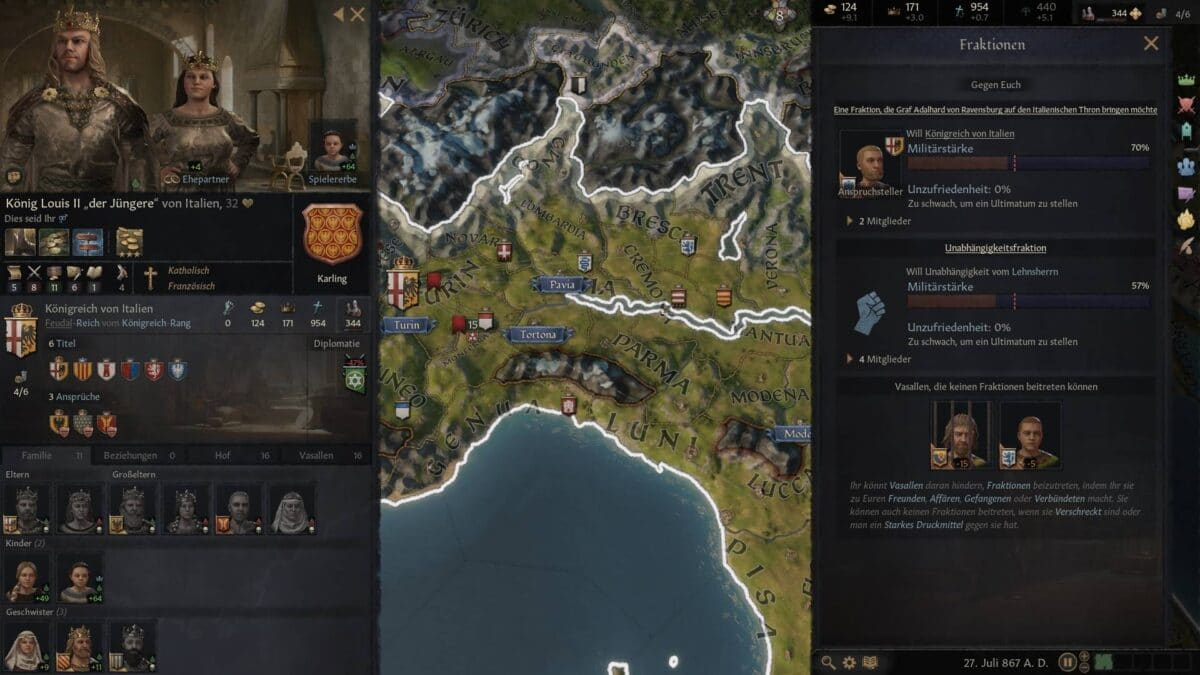 Crusader Kings 3 factions overview in the empire.