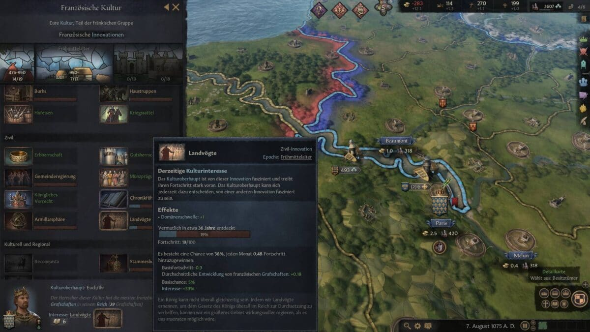 Crusader Kings 3 Innovationen-Fenster mit aktiviertem Innovationsfokus