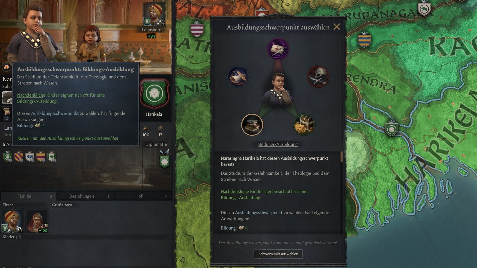 Crusader Kings 3 Portrait of children with education focus window
