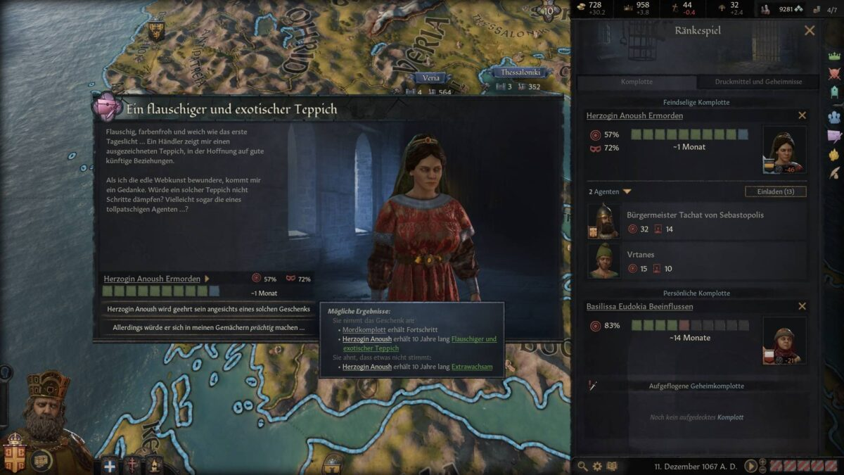 Crusader Kings 3 decision windows in a scheme with decision options