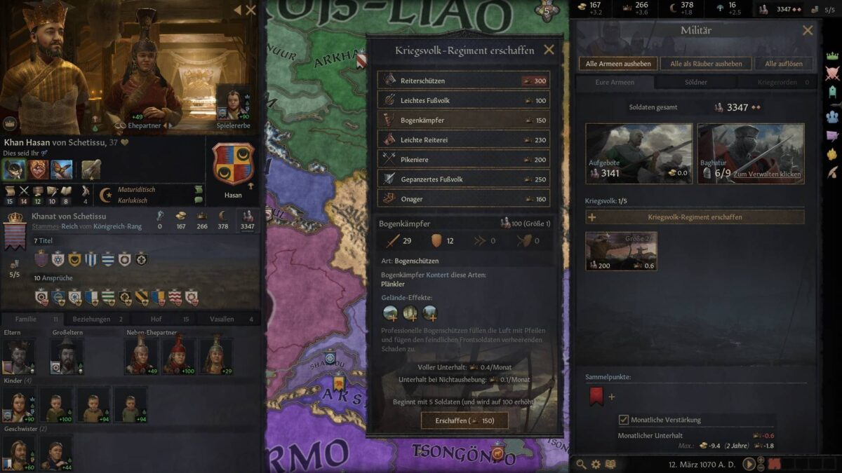 Crusader Kings 3 Selection window for Men-at-Arms recruitment