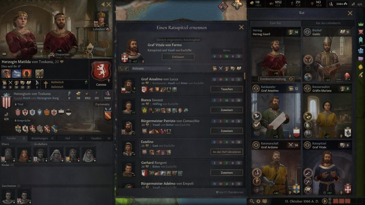 Crusader Kings 3 appointment window with character list for a council spy