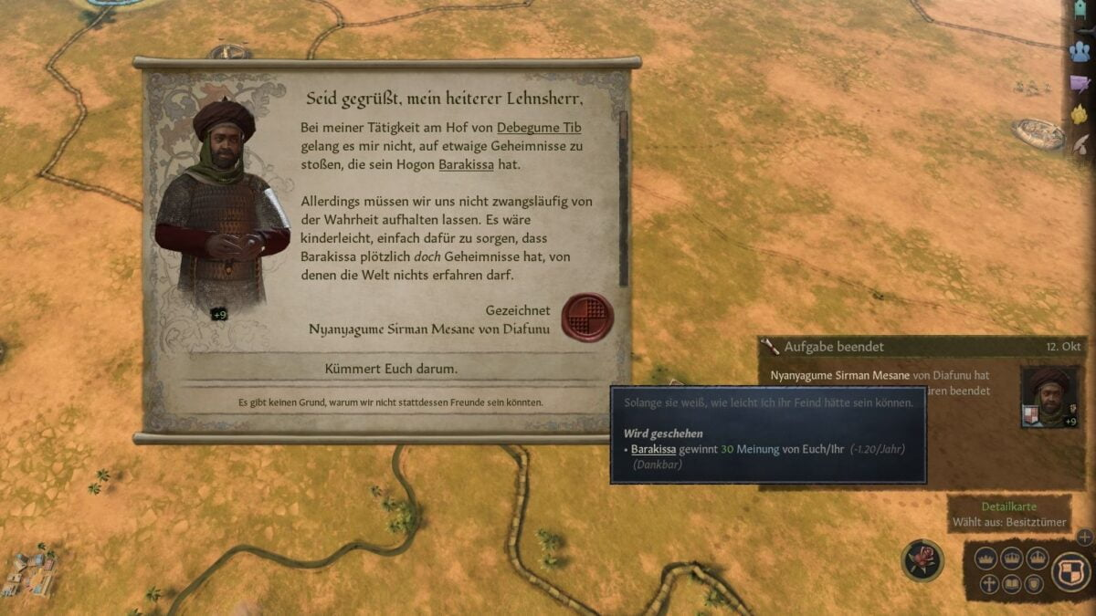 Crusader Kings 3 Result window The Spymaster has accomplished his task
