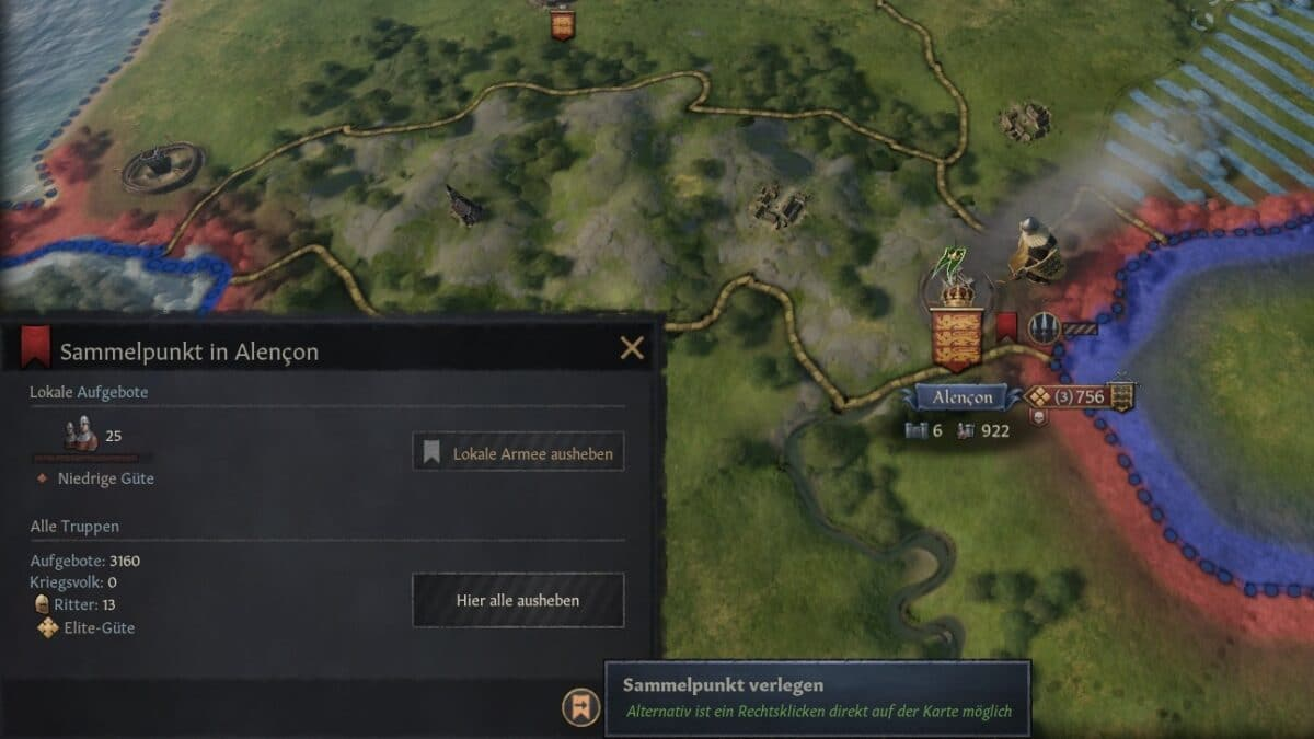 Crusader Kings 3 Rallying point window with relocate Rallying Point button