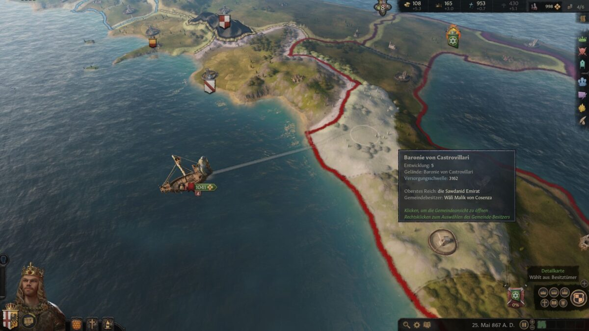Crusader Kings 3 army lands on coast from the sea