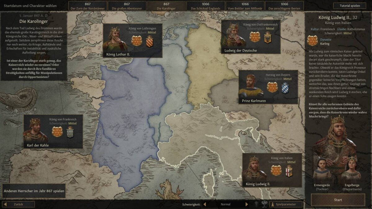 "Crusader Kings 3 scenario overview for ""The Carolingians""."