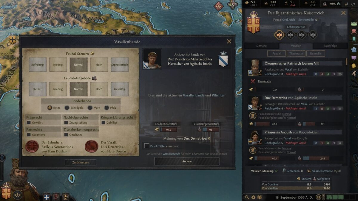 Crusader Kings 3 Feudal contract overview window with current feudal contracts