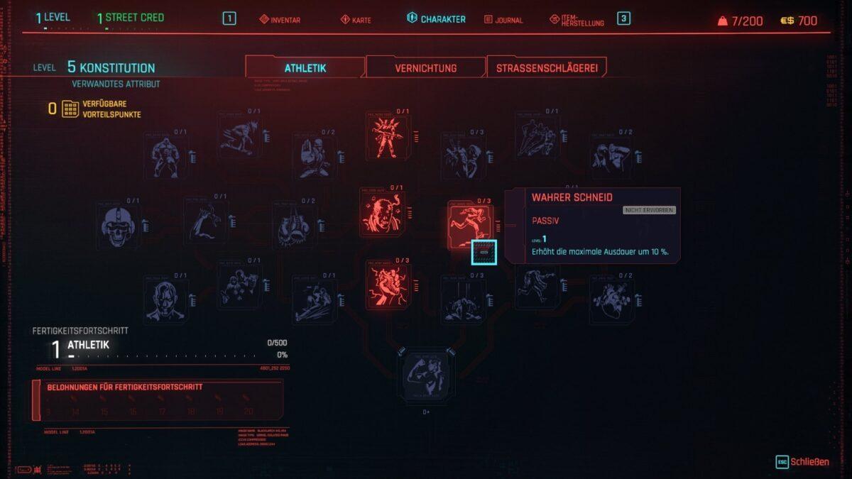 Cyberpunk 2077 Skillbaum Straßenschlägerei mit allen Vorteilen