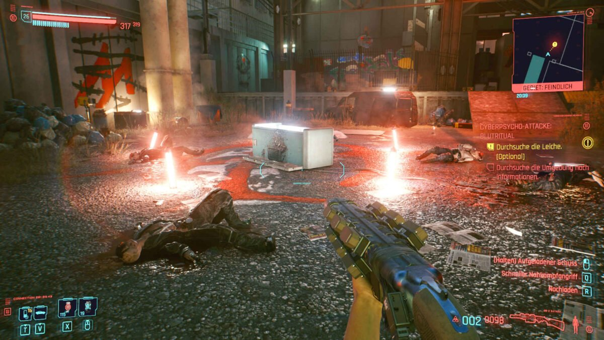 Cyberpunk 2077 Cyberpsychos Ritual place with bloody corpses around lit open freezer