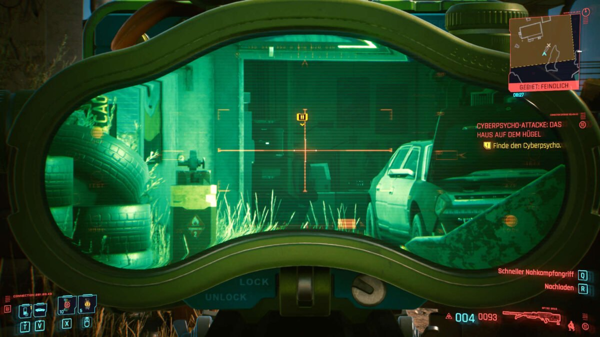 Cyberpunk 2077 Cyberpsychos View into the garage and on the opponent through a scope