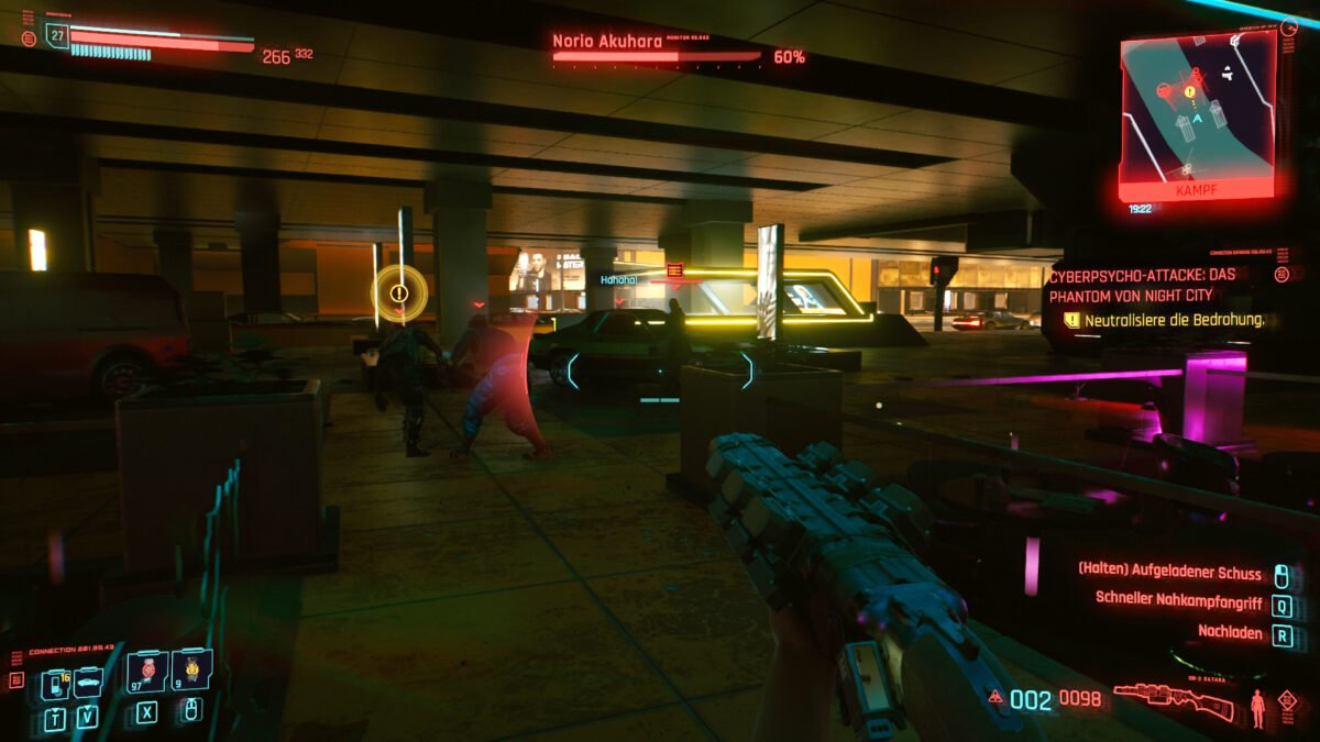 Cyberpunk 2077 Cyberpsychos Fight between several people in neon light environment
