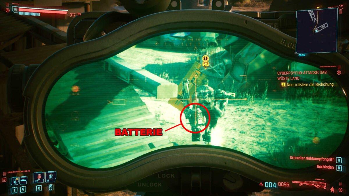Cyberpunk 2077 Cyberpsychos Blick aus Zieloptik auf Rücken des Gegners samt markierter Schwachstelle