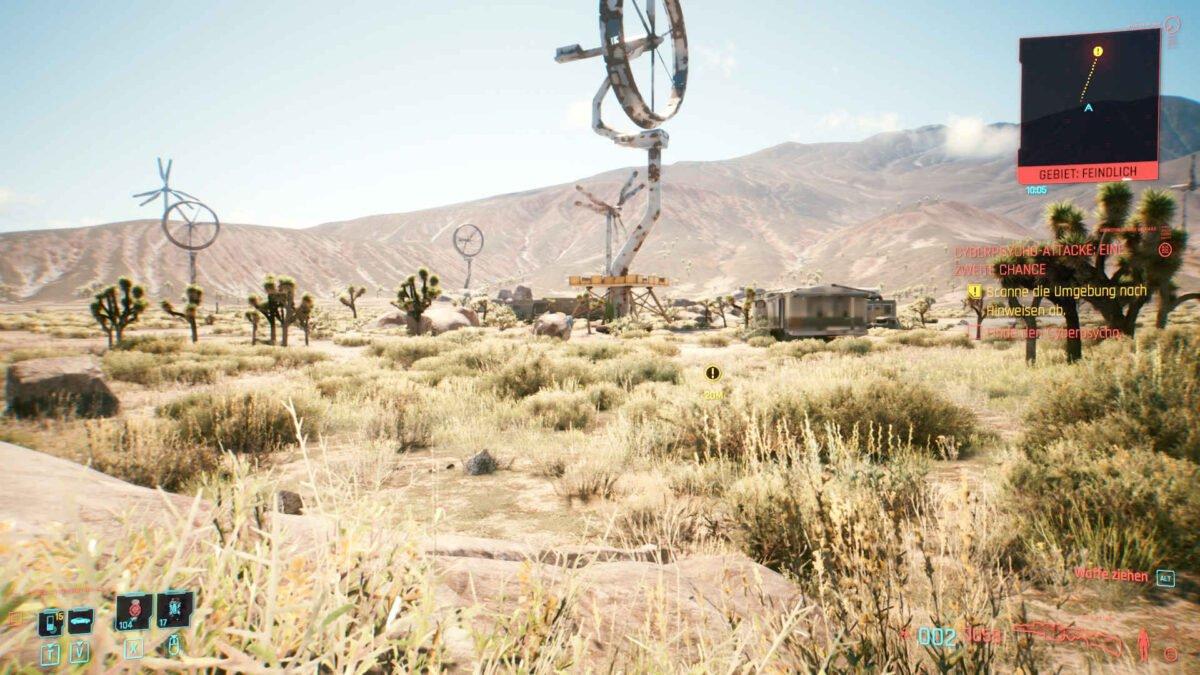 Cyberpunk 2077 Cyberpsychos rostiges Windrad in Mojave-Wüste als Kampfareal