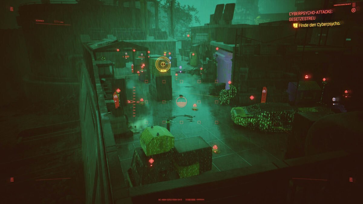 "Cyberpunk 2077 Cyberpsychos Scan image of the mined battle area of the ""Lawful"" mission."