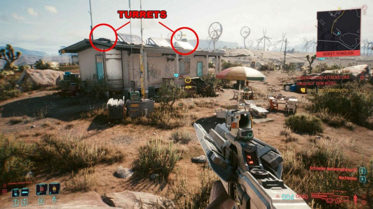Cyberpunk 2077 Cyberpsychos view on the house with marked gun turrets.