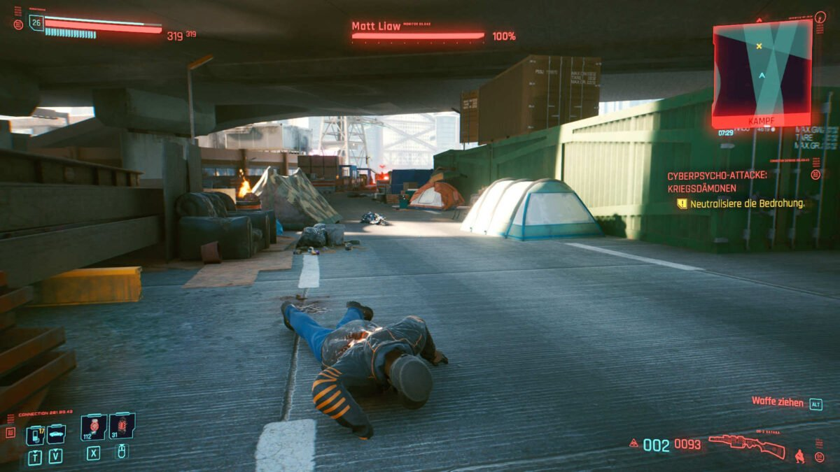 Cyberpunk 2077 Cyberpsychos distant long-range combat opponent in a construction site environment