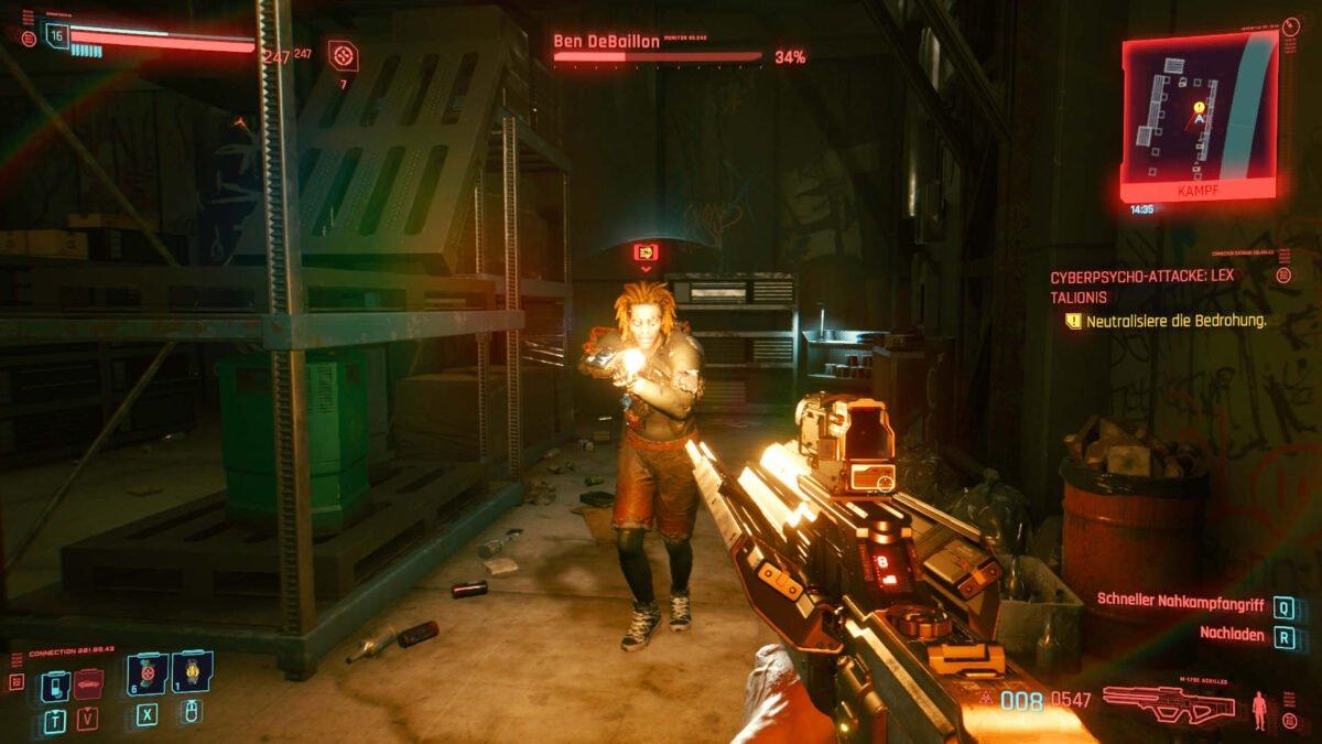 Cyberpunk 2077 Cyberpsychos Gegner Ben DeBallion greift mit Pistole an
