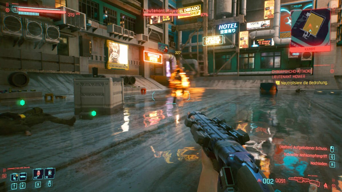 Cyberpunk 2077 Cyberpsychos Rushing burning and cyberware-blurred opponent in backyard