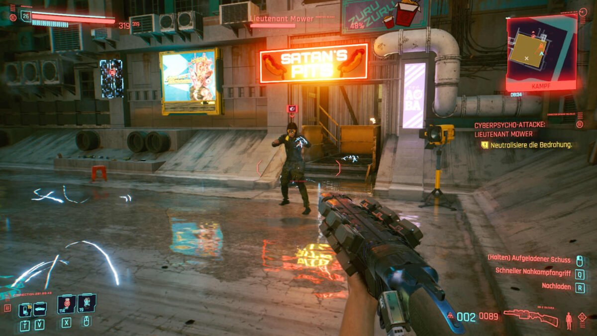 Cyberpunk 2077 Cyberpsychos Opponent Lieutenant Mower generates electric lightning while standing
