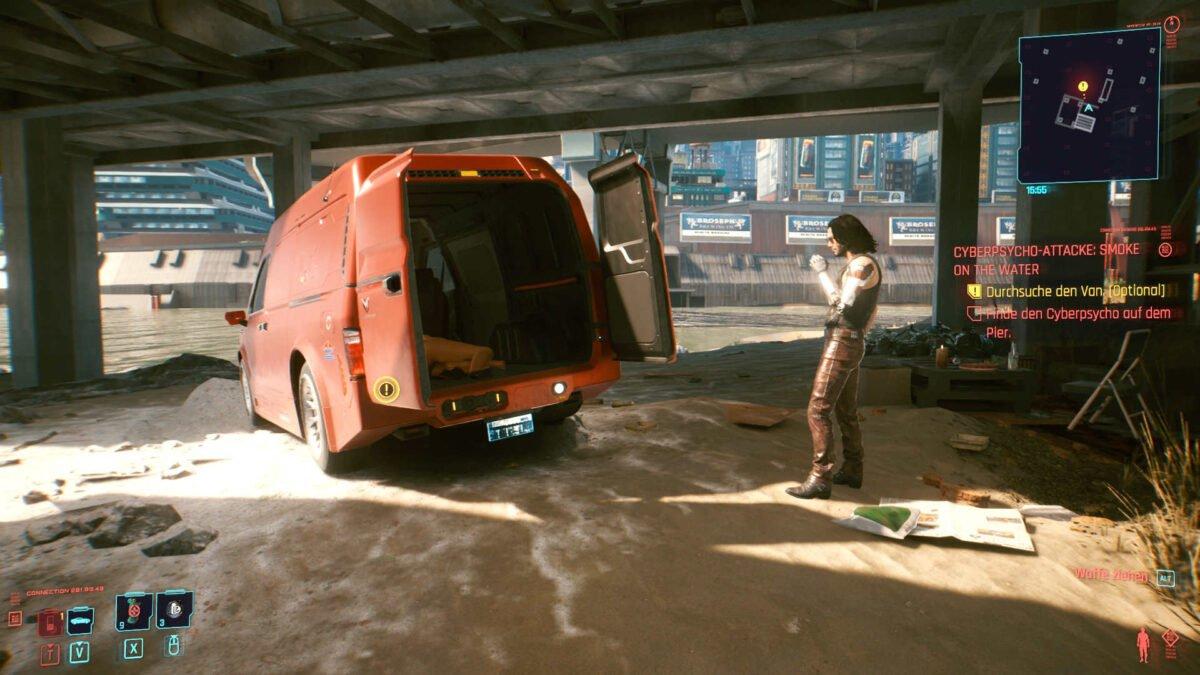 Cyberpunk 2077 Cyberpsychos Van mit geöffneten Türen am Strand unter einem Pier