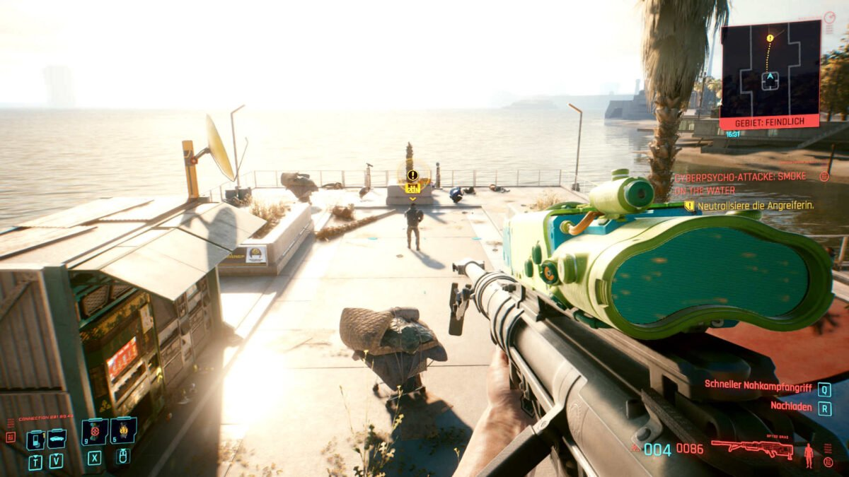 Cyberpunk 2077 Cyberpsychos View on Ramirez and the combat area from above at the end of a pier