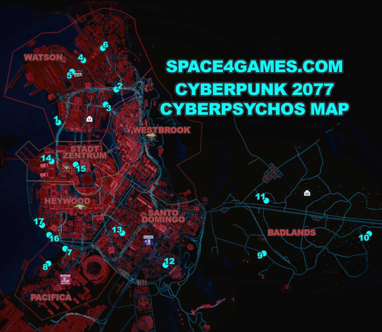 Cyberpunk 2077 Cyberpsycho-Guide Standorte aller Cyberpsychos Karte