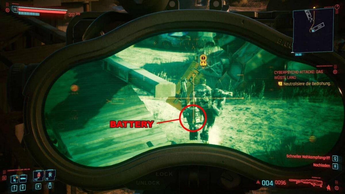Cyberpunk 2077 Cyberpsychos Blick aus der Zieloptik auf den Rücken des Gegners inklusive markierter Schwachstelle
