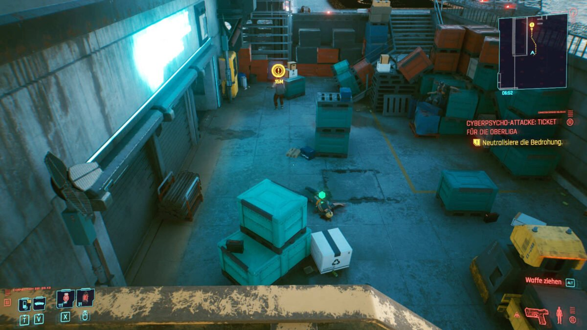 Cyberpunk 2077 Cyberpsychos view from above on combat area of the mission Little China