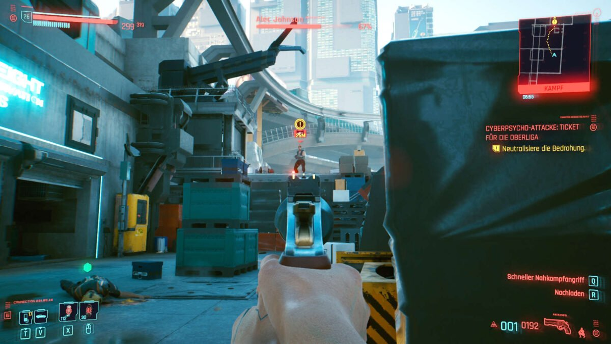 Cyberpunk 2077 Cyberpsychos View from below on enemy firing from elevated position