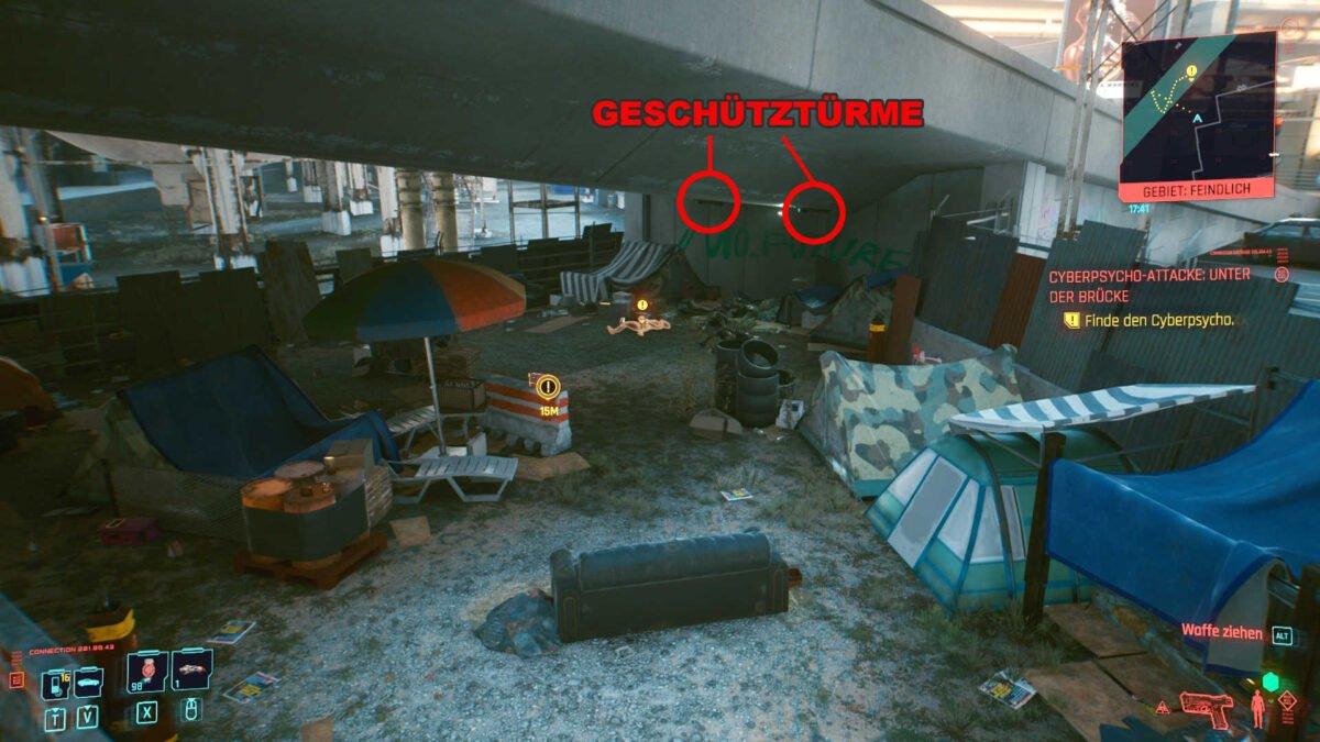 Cyberpunk 2077 Cyberpsychos Obdachlosenlager unter einer Brücke mit markierten Geschützpositionen