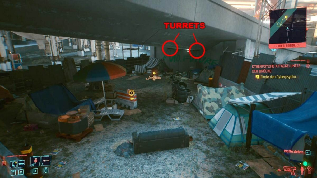 Cyberpunk 2077 Cyberpsychos homeless camp under a bridge with marked gun positions