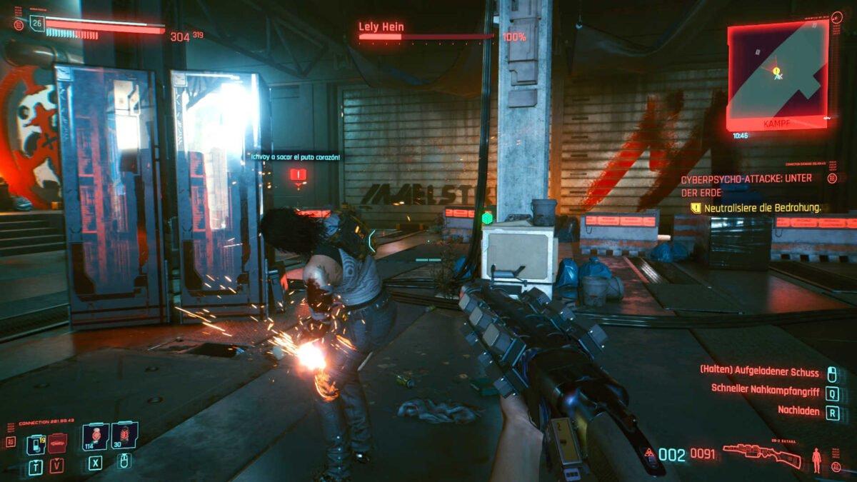 Cyberpunk 2077 Cyberpsychos Angriff auf kurzer Distanz auf abgelenkten Gegner