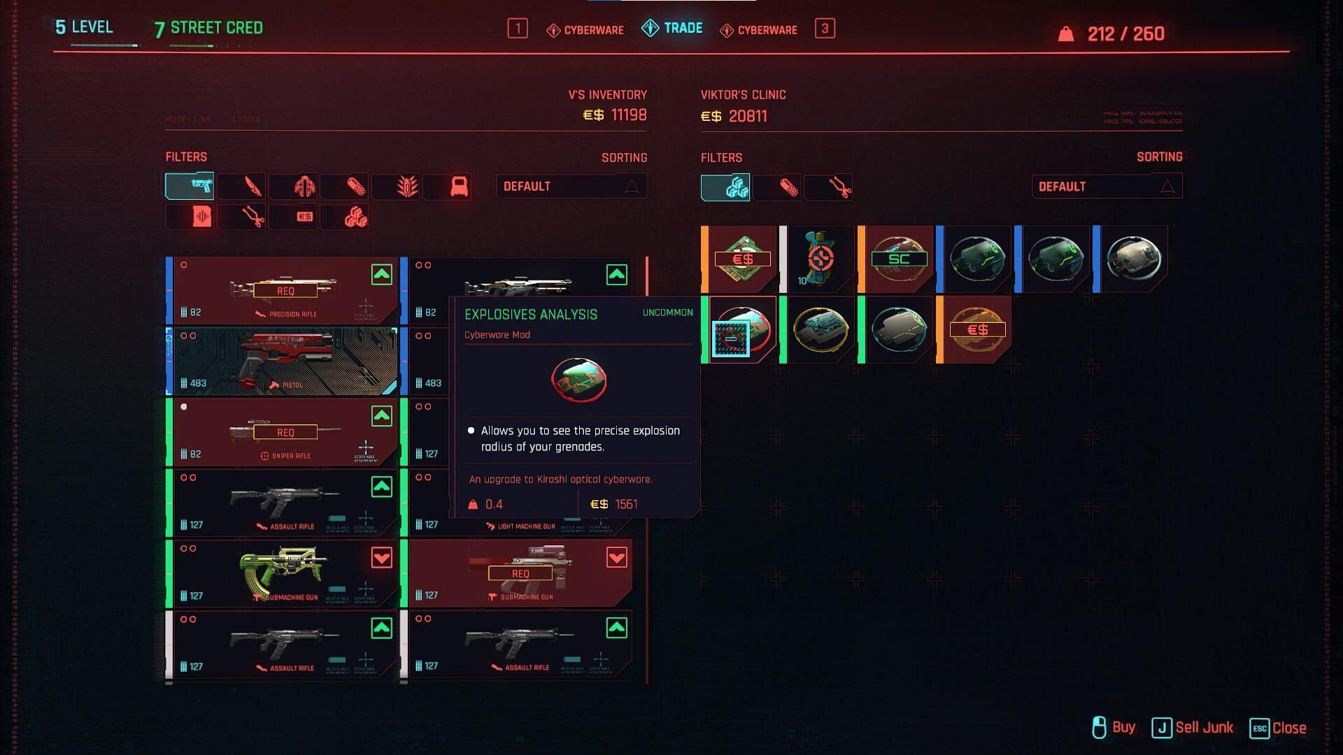 Cyberpunk 2077 Cyberware Guide Cyberware Mod Overview In Sales Menu of Ripperdoc Viktor