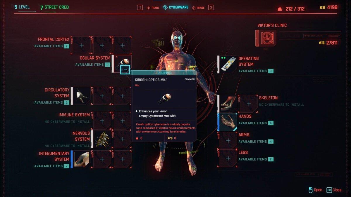 Cyberpunk 2077 Cyberware Guide Cyberware Overview with previously installed Cyberware.